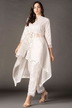 Buy Mirror Work Kurta by Twenty Nine at Aza Fashions Indian Fashion Dresses, Pakistani Fashion Casual, Pakistani Dresses Casual, Frock Fashion, Dress Indian Style, Pakistani Dress Design, Indian Designer Outfits, Indian Outfits, Designer Dresses