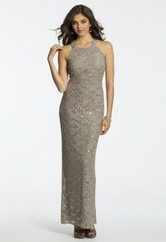 Long Sequin Lace Illusion Dress from Camille La Vie and Group USA #homecoming #homecomingdresses #prom #promdresses