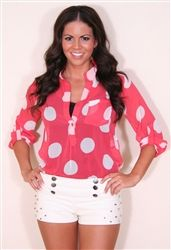 coral polka dot top and super cute stud detail shorts. love this outfit!