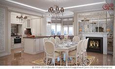 Дизайн бежевой кухни-столовой с камином  http://www.ok-interiordesign.ru/ph28_dining-room-interior-design.php