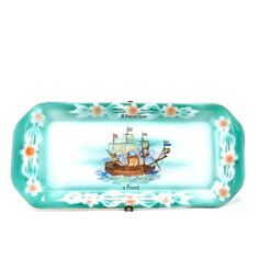 Vintage Tray Spritzdek Floral Sea Green Pink Tall Ship Transfer Present From A Friend Victoria China Czechoslovakia Airbrushed Porcelain Vintage Polaroid, Floral Border, Tall Ships, Cottage Chic, Tray, Porcelain, Victoria, China, 1920s