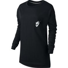 The Women's Nike Sportswear Top blends effortless style with total comfort. Made from super soft jersey fabric with a sheen, it has dropped shoulder sleeves and an elongated split hem for a flattering look. Athletic Outfits, Sport Outfits, Graphic Shirts, Nike Sportswear, Long Sleeve Tops, Active Wear, T Shirts For Women, Sweatshirts, Mens Tops