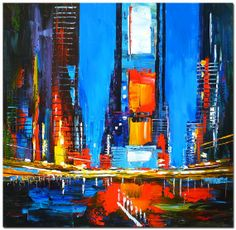 """FREE SHIPPING! Signed ORIGINAL  Modern Abstract Palette Knife Oil Painting Canvas Art """"New York Scene"""""""