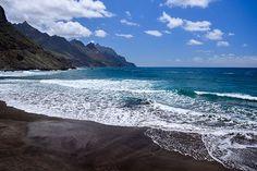 Black Sand Volcanic Beach Taganana Tenerife Canary islands Spain