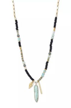 ARTISAN PENDANT NECKLACE -A genuine druzy pendant hangs from this hand-beaded layering necklace. A mix of semi-precious labradorite & aqua amazonite stones mixed with metal and wood beads. Shop at www.stelladot.com/amandabehrens #stelladotstyle