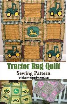 Rag Quilt PATTERN, Baby Blanket with Tractors, SEWING Instructions, Instant Download, PDF #avisiontoremember