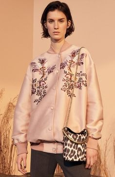 STELLA MCCARTNEY Floral Embroidered Duchesse Satin Bomber Jacket. #stellamccartney #cloth #