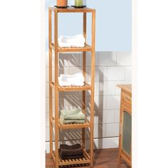 This five-tier shelf provides convenient storage for all of your bathroom accessories. With a natural bamboo finish, this shelf will look great in any bathroom.