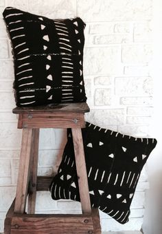 Slouchy Geometric African Mud Cloth Throw Pillows * Perfect Holiday Gift *