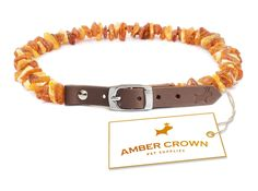 Organic Flea and Tick Repellent Amber Collar with Adjustable Leather Strap for Dogs and Cats