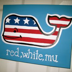 phi mu canvas ~ vineyard vines red, white, and blue whale. Change to red, white, adpi blue.