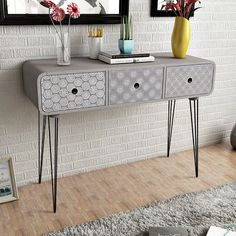 Modern Console Table Side Cabinet 3 Storage Drawers Sideboard Hallway Furniture  #SmartDealsMarket #Modern