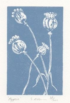 poppies blue 32856 Stamp Printing, Screen Printing, Linocut Prints, Art Prints, Block Prints, Linoprint, Art Graphique, Tampons, Art Plastique