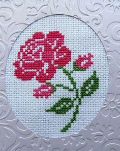 This Pin was discovered by Gül Cross Stitch Cards, Cross Stitch Rose, Cross Stitch Flowers, Cross Stitching, Cross Stitch Embroidery, Silk Ribbon Embroidery, Hand Embroidery, Embroidery Designs, Wedding Cross Stitch Patterns