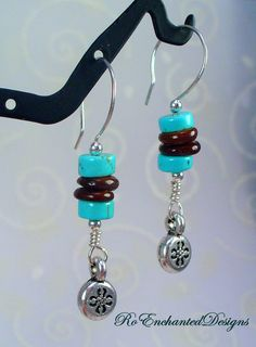 Sterling Silver Summer Earrings  Turquois by RoEnchantedDesigns, $13.00