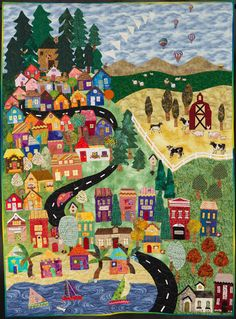"Busy Town, 47 x 65"", Flying Geese Quilters' Guild President's Quilt.  Best Group quilt, 2014 Road to California quilt show.  Entered by Michelle Howe."