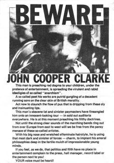 JOHN COOPER CLARKE FLYER 1978 – MANCHESTER DISTRICT MUSIC ARCHIVE