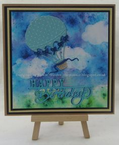 Tinyrose's Craft Room: Up, Up and Away made with Brushos and Pixie Powders and the Up and Away Hot Air Balloon die set by Spellbinders.