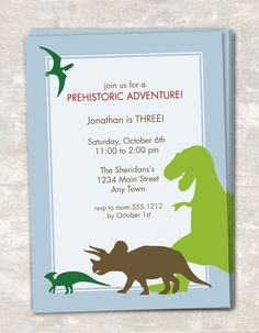 PRINT & SHIP Dinosaur Dig Birthday Party Invitations (set of 12). $22.95, via Etsy.