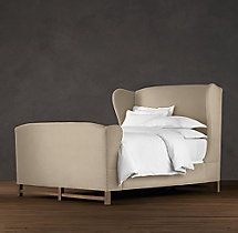 French Wing Upholstered Bed with Footboard, Restoration Hardware