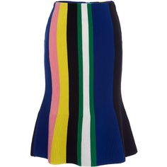 J.W. Anderson Blue Ottoman Stripe Skirt ($655) ❤ liked on Polyvore featuring skirts, striped skirt, j.w. anderson, high waisted knee length skirt, mid length skirts and blue knee length skirt