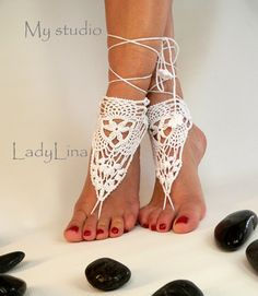 Crochet Barefoot Sandals, Victorian Lace, Foot jewelry, Wedding, Crochet Sandles, Sexy, Yoga, Anklet, Pure White