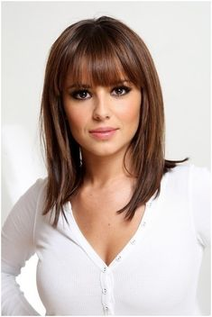 Straight Medium Hairstyles Blunt Piecy bangs Popular Haircuts