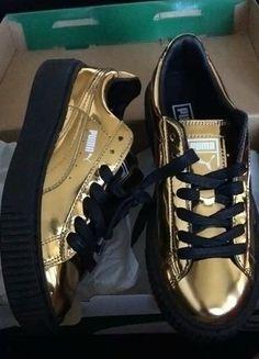 À vendre sur #vintedfrance ! http://www.vinted.fr/chaussures-femmes/baskets/25408371-creepers-puma-plateform-metallic-gold