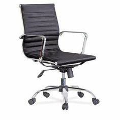 "Gersh Mid Back Modern Office Chair Genuine Leather - Black by Leisuremod. $265.00. chrome iron frame,chrome iron armrest,chrome iron base.. with simple mechanism. with nylon casters.. 24"" L x 23"" W x 20"" D x 36""-39"" H (Seat Height: 18""-21""). This classic leather office chair is sure to add a touch of class and comfort to the workplace.. Genuine leather upholstery. This modern classic is a reproduction of the famous Aluminum Management Chair. It's ribbed back is upholstered i..."