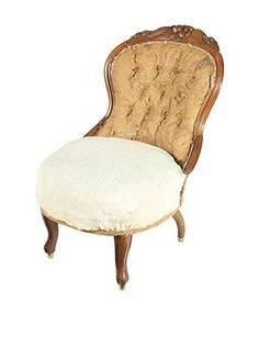 Deconstructed French Parlor Chair, Brown/Tan