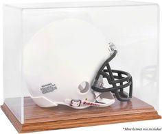 Oak Base Football Mini Helmet Display Case