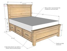 Farmhouse Storage Bed with Drawers (Queen) Bed Frame With Drawers, Bed Frame With Storage, Diy Bed Frame, Bed Frames, Beds With Storage Drawers, Diy Queen Bed Frame, Wooden Bed With Storage, Bed Designs With Storage, Storage Bed Queen