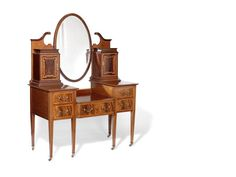 Victorian Dressing Table | An Edwardian fiddleback mahogany and satinwood banded dressing table