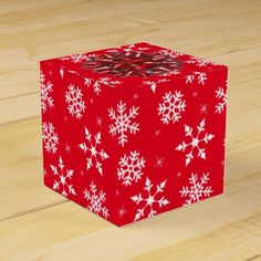 Snowflakes and Red Bow Favor Boxes and More Gift Wrap Supplies ~ All With a Custom Background Color http://www.zazzle.com/papercrow/gifts?cg=196387641469177124 #Snowflakes #Christmas #GiftWrapping #PartyFavorBox #TreatBoxes #Zazzle #Custom