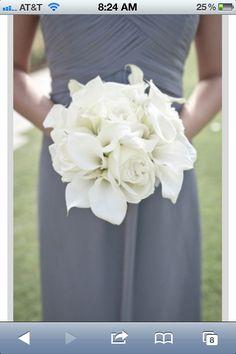 White Calla Lillies & white gardenias instead of roses for bridesmaids