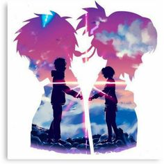 Anime Couples Kimi No Na Wa - Your Name Canvas Print - Canvas print. Arrives ready to hang. Additional sizes are available. Beautiful scene from Kimi No Na Wa - Your Name Anime Love Couple, Cute Anime Couples, Animes Wallpapers, Cute Wallpapers, Mitsuha And Taki, Kimi No Na Wa Wallpaper, Your Name Wallpaper, Name Drawings, Your Name Anime
