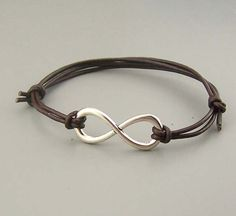 Infinity Bracelet,Silver/bronze/gold Infinity Charm Jewelry.Brown/Black Cow Leather Bracelet,real Co on Luulla