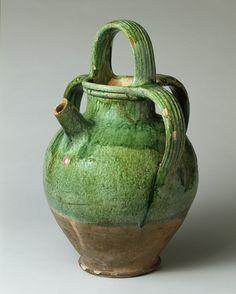 Water jar with spout (vase à bec), 1550–1600  France (Saintes)  Lead-glazed earthenware