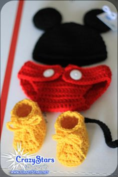 Crochet Baby/Infant Mickey Mouse Set  Great gift or by crazystars, $43.00