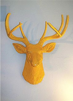 Sunny Bright Yellow Stag........Deer Head,Faux Taxidermy,Buck,Mount,Antlers. $130.00, via Etsy.