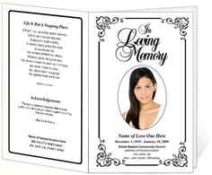 Elegant Memorial Funeral Bulletins: Simple Download Printable Funeral Service Program Templates