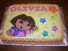Homemade Dora Birthday Cake Design