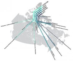 Venice Biennale Lateral Office to Represent Canada with Nunavut Exhibition,Map diagram of Arctic Adaptations team members © Lateral Office, 2013 Architecture Mapping, Architecture Concept Diagram, Architecture Portfolio, Urban Analysis, Site Analysis, Landscape Concept, Landscape Design, Landscape Diagram, Context Map