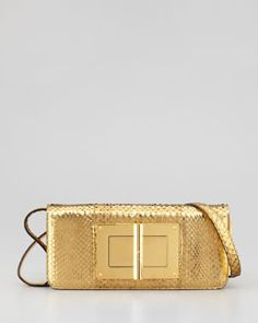 V1GCP Tom Ford Natalia East-West Python Shoulder Bag, Gold
