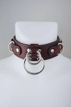 Handgemachte doppelte O-Ring Slave Lederhalsband schwere