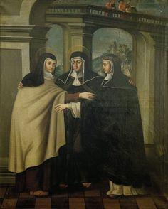 Abrazo entre santa Teresa, santa Clara y santa Catalina de Sena.