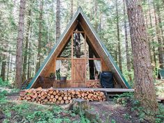 Time to build a fire and cheers in this A-Frame cabin rental in Ashford, Washington!