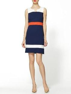 Love that this dress is mostly a darker color-the orange/red helps define the waist and the white makes it fun-could easily be worn with a blazer to work or dressed down with a denim jacket- THML Colorblock Spring Dress