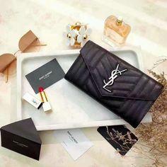 3215752631 2017 S S Saint Laurent Large Monogram Flap Wallet in Black Mixed Matelasse  Leather