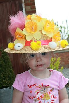 Sophie had her Easter bonnet parade today and she spent a lot of time choosing her new additions to her bonnet for this year, which includ. Happy Easter, Easter Bunny, Easter Eggs, Easter Bonnets, Easter Hat Parade, Hat Day, Spring Hats, Crafts For Seniors, Easter Celebration